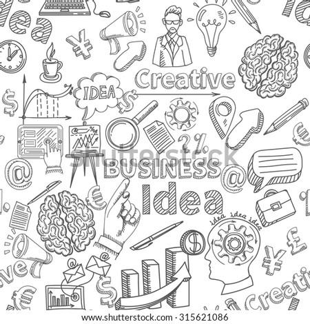 Creative background seamless pattern with business idea symbols  illustration - stock photo