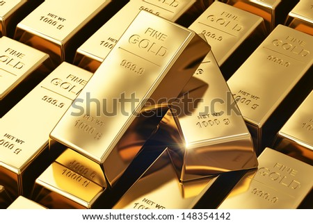 Creative banking, financial success development growth and profit investment concept: macro view of stacks and rows of gold ingots or golden bullions bars - stock photo