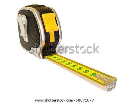 creative black  tape measure on white background isolated - stock photo
