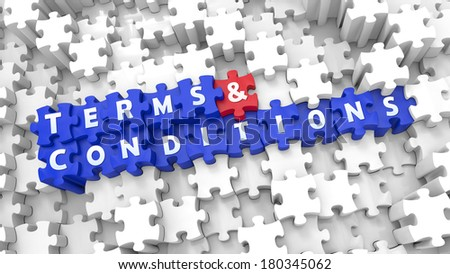 Creative blue 3D pieces of puzzle and words TERMS & CONDITIONS - stock photo