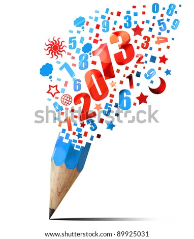 creative blue pencil 2011 year isolated on white - stock photo