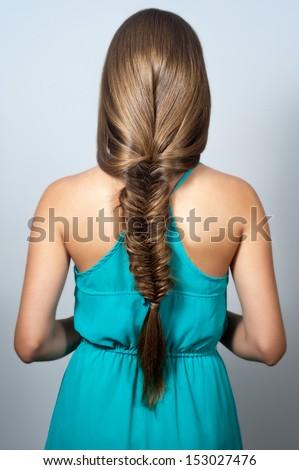 creative braid hairstyle  - stock photo