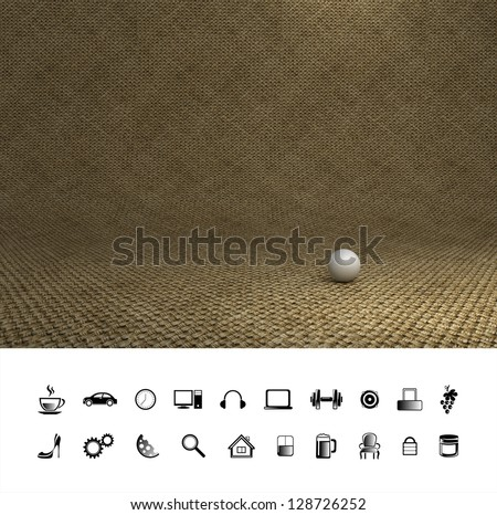 Creative brown old sacking background. Proffesional photo studio place. - stock photo