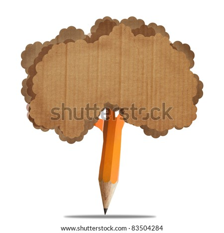 creative brown pencil with recycle paperboard brown leaf isolate on white - stock photo