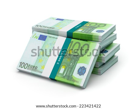 Creative business finance making money concept - stack of 100 euro banknotes (bills) bundles isolated on white background - stock photo