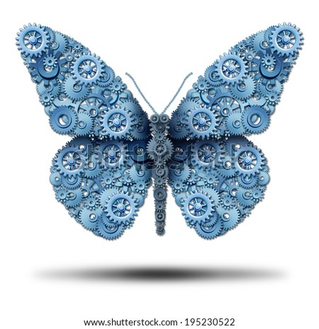 Creative business freedom and power of imagination symbol as a group of gears or cog wheels connected together to form a flying butterfly shape as an icon of innovation freedom on a white background. - stock photo