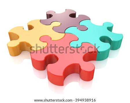Creative business, office, teamwork, partnership and communication corporate concept: logo from four color red, brown, green and yellow puzzle jigsaw pieces isolated on white background - stock photo