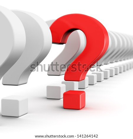 Creative business strategy, risk, motivation and success concept: red question symbol within a row of white signs isolated on white background with selective focus effect