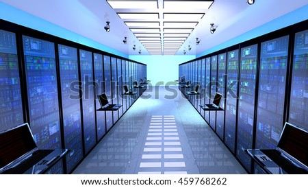 Creative business web telecommunication, internet technology connection, cloud computing and networking connectivity concept: terminal monitor in server room with server racks in datacenter. 3D render - stock photo