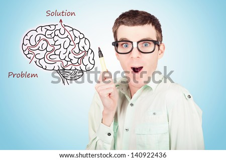 Creative businessman drawing upon a creative idea inside a brain illustration maze. Human race in genetic engineering - stock photo