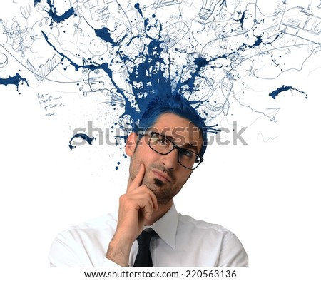 Creative businessman with blue color exit from the head - stock photo