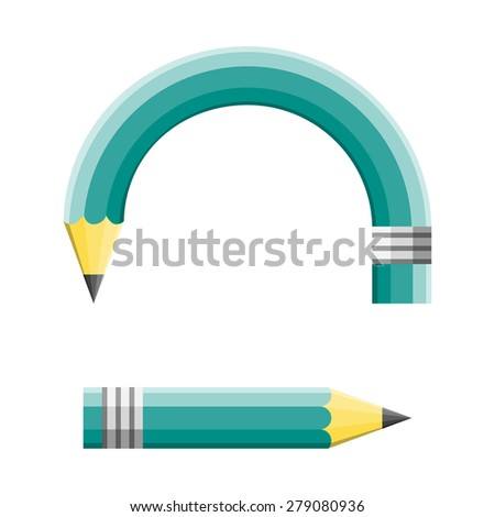 Creative change and changing a planned strategy as a green pencil adapting to changes by curving and pointing to a different goal direction and other strategy as an education and business concept. - stock photo
