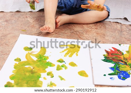 Creative child or Painting brush, Painting or drawing child - stock photo