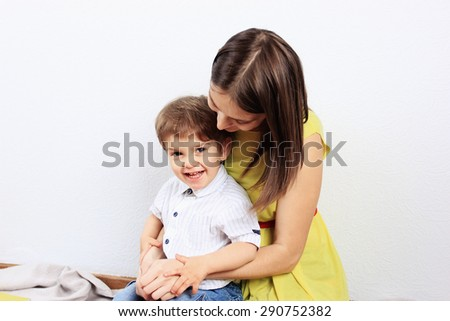 Creative child or Painting, Clever child, Child care, Mother and son, Mother care - stock photo