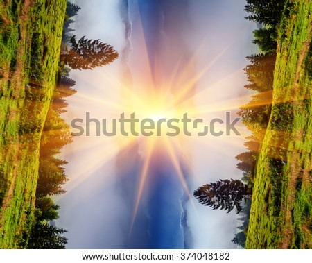 Creative collage of flipped landscape. Sunrise in the foggy mountains. - stock photo