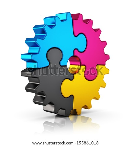 Creative color printing computer technology, typography, press and publishing abstract concept: colorful CMYK puzzle jigsaw gear isolated on white background with reflection effect