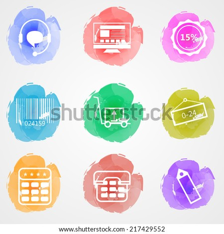 Creative colored icons for trade online. Set of colored watercolor stains icons with white contour elements for trade online on gray background. - stock photo