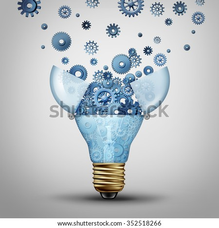 Creative communication solution and clever marketing ideas through distribution as an open lightbulb with a group of gears and cog wheels spreading out as a metaphor for brainstorm or brainstorming. - stock photo