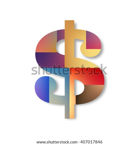 Creative concept icon of dollar for Web and Mobile Applications isolated on white background. illustration creative template design, Business software and social media. - stock photo