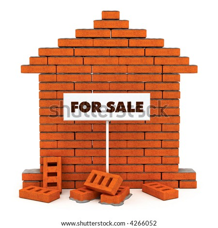 Creative concept of building new flat brick house wall with roof and sign board for sale. 3d rendered illustration. Isolated on white background - stock photo