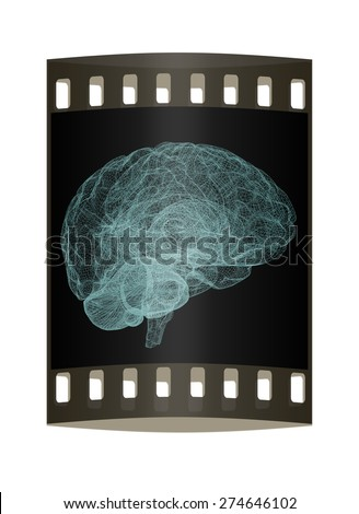 Creative concept of the human brain. The film strip