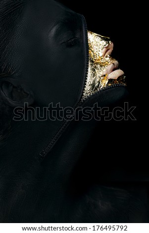 Creative Concept. Surreal Fancy Woman Painted Black with Zip Fastener on her Outlandish Face - stock photo