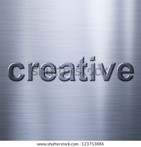 Creative concept word on metal background or texture