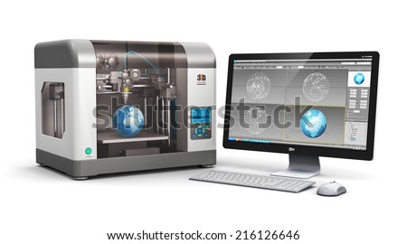 Creative 3D ABS plastic printing technology business concept: modern 3D printer and professional desktop workstation computer PC with 3D design software interface isolated on white background - stock photo
