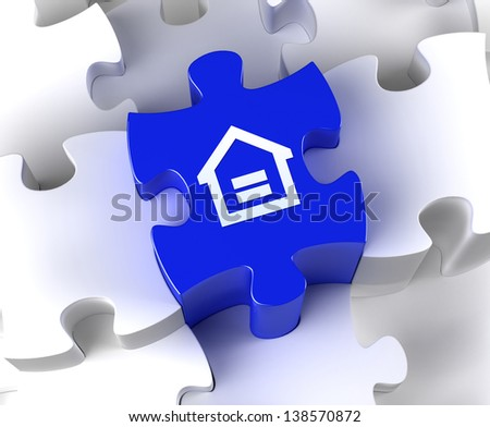 Creative 3D pieces of puzzle and home symbol - stock photo