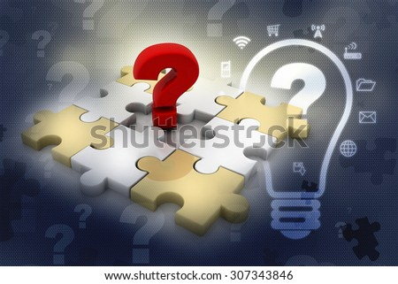 Creative 3D pieces of puzzle and questionmark symbol - stock photo