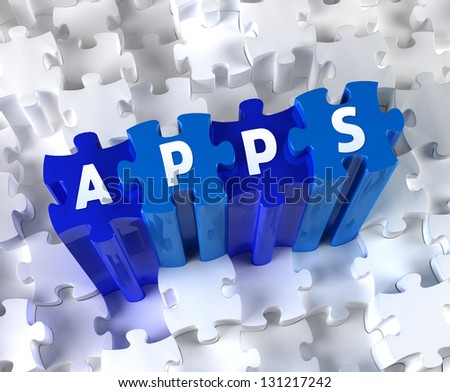 Creative 3D pieces of puzzle and word APPS - stock photo