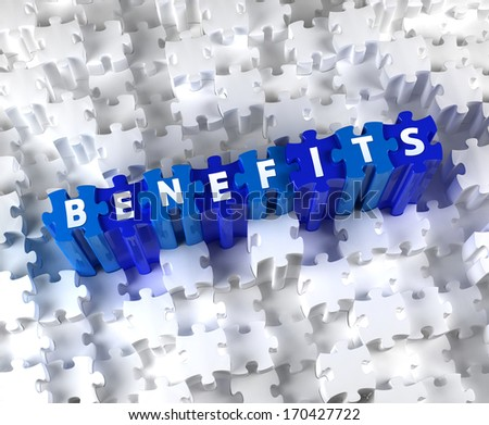 Creative 3D pieces of puzzle and word BENEFITS - stock photo