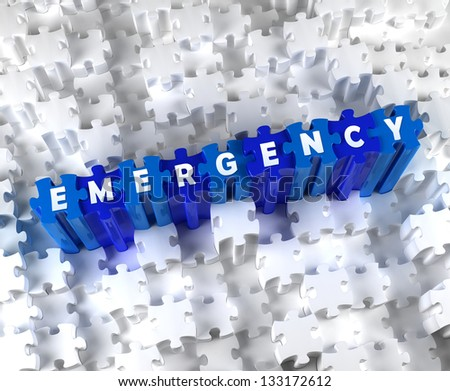 Creative 3D pieces of puzzle and word EMERGENCY - stock photo