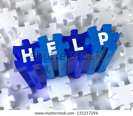 Creative 3D pieces of puzzle and word HELP - stock photo