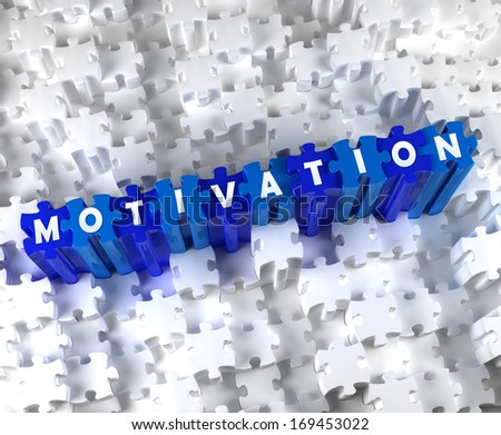 Creative 3D pieces of puzzle and word MOTIVATION - stock photo