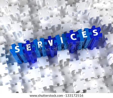 Creative 3D pieces of puzzle and word SERVICES - stock photo