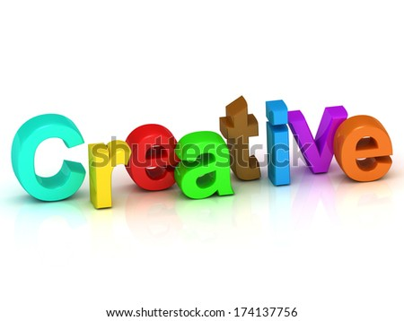 creative 3d word colour bright letter on white background