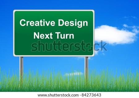 Creative design signpost on sky background, grass underneath. - stock photo