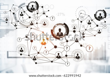 Creative digital connections with HR and other icons on light background. Communication concept. 3D Rendering