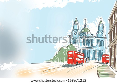 Creative digital illustration of British travel icon, The red double decker bus passing by St Paul Cathedral at the top of Ludgate Hill in London, UK with blue sky copyspace - stock photo