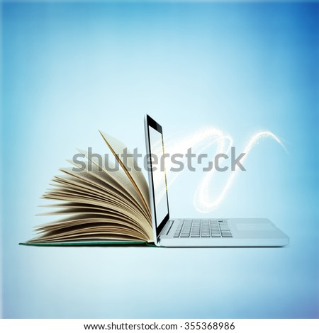 creative E-learning Concept. Book and Laptop. - stock photo