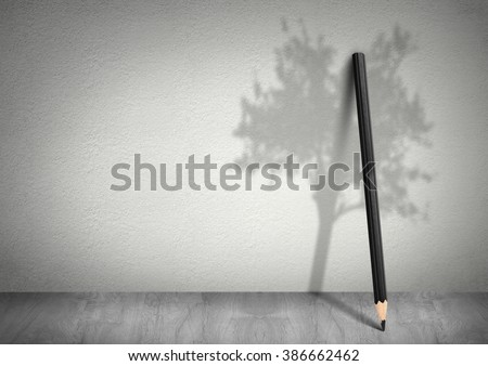 Creative ecology concept, pencil with shadow of tree with copy space