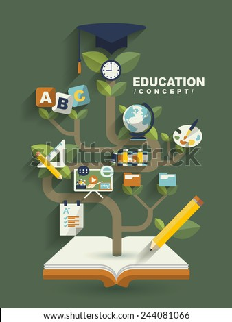 creative education concept flat design with book tree elements - stock photo