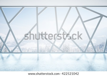 Creative empty interior with abstract panoramic windows and snowy landscape view. 3D Rendering - stock photo