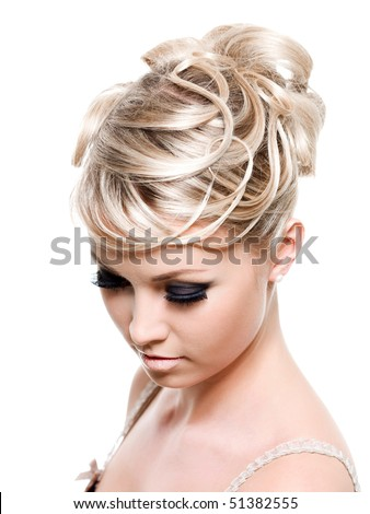 Creative fashion hairstyle on the blond long female hair -  isolated on white - stock photo