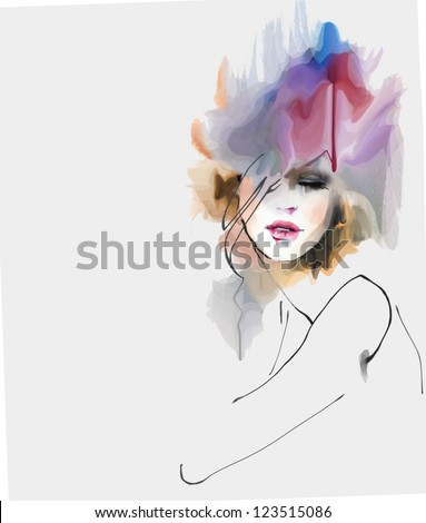 Creative fashion illustration - stock photo