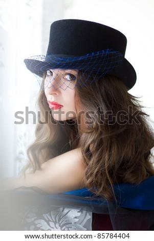 Creative fashion portrait. Shallow DOF - stock photo