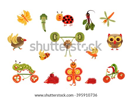 Creative food concept. Fabulous  country, made of fruits and vegetables. - stock photo