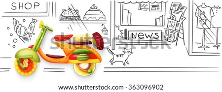 Creative food concept of a classic retro scooter Vespa for summer travelling, made of fruits and vegs, parked on sketchy urban background. - stock photo