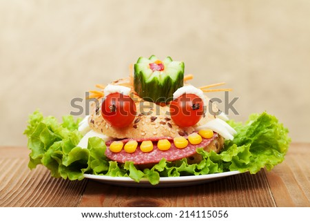 Creative fresh and healthy food - the frog king sandwich - stock photo